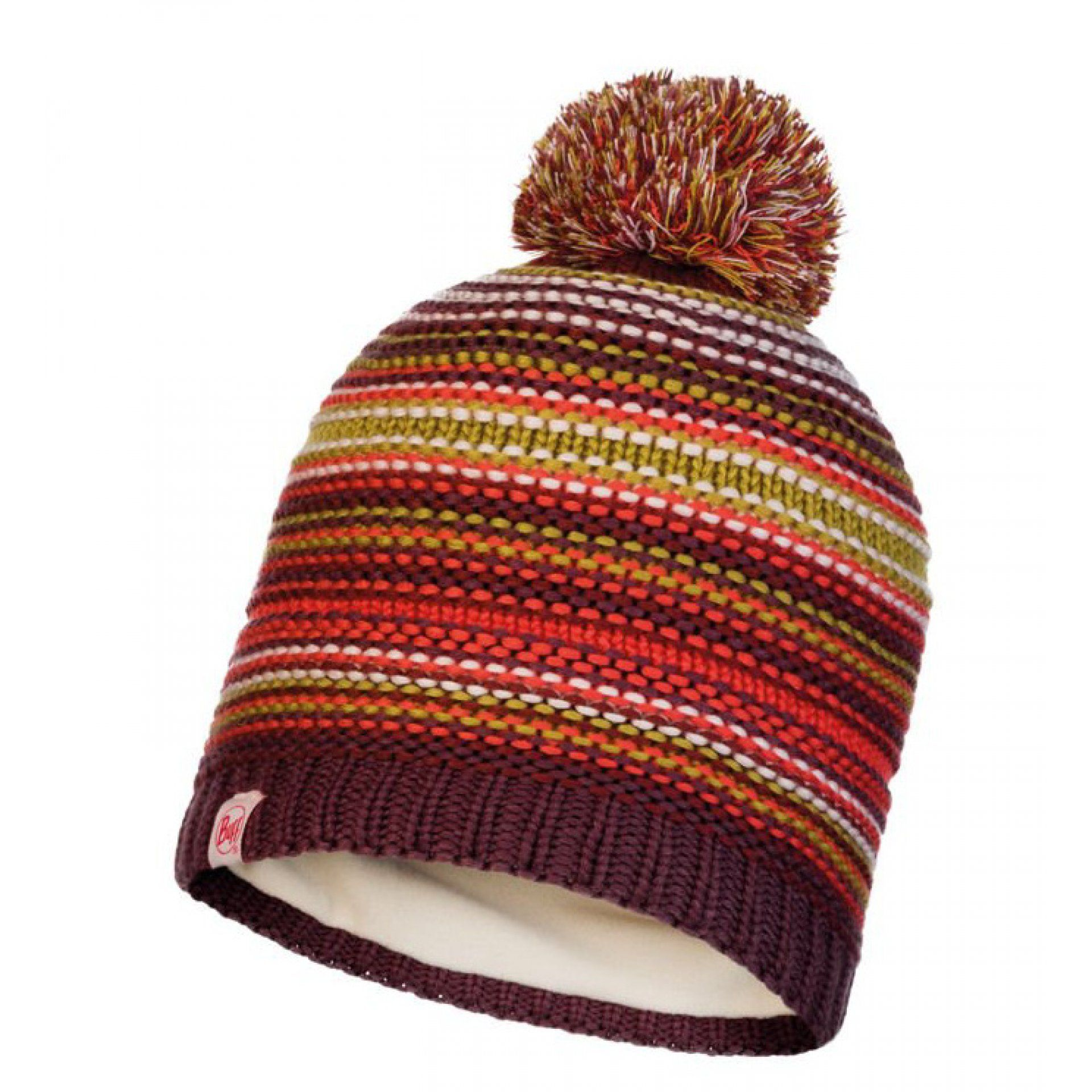 CZAPKA BUFF JUNIOR KNITTED & FLEECE HAT AMITY MAROON PRZÓD