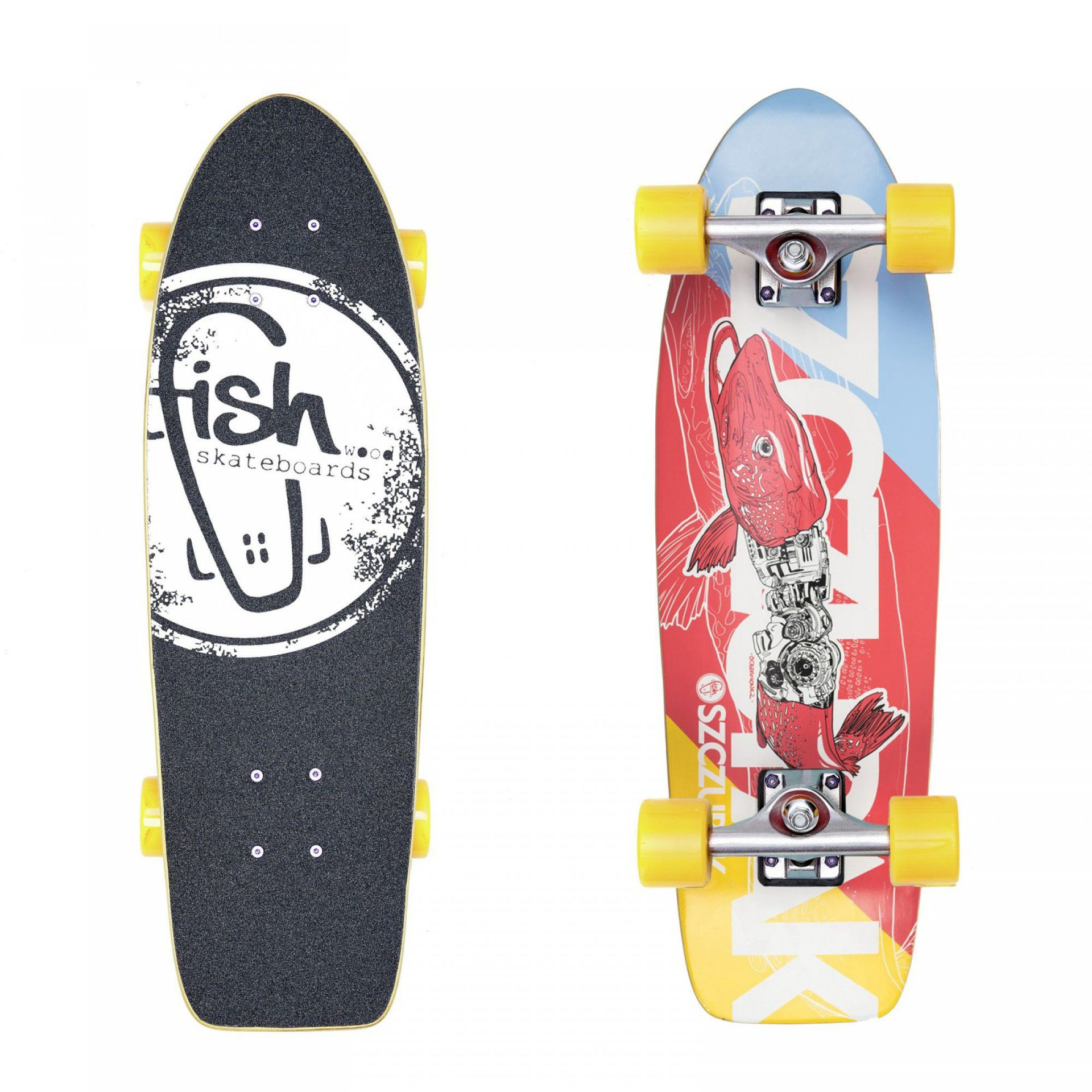 FISHBOARD FISH SKATEBOARDS CRUISER 26  SZCZUPAK SILVER YELLOW