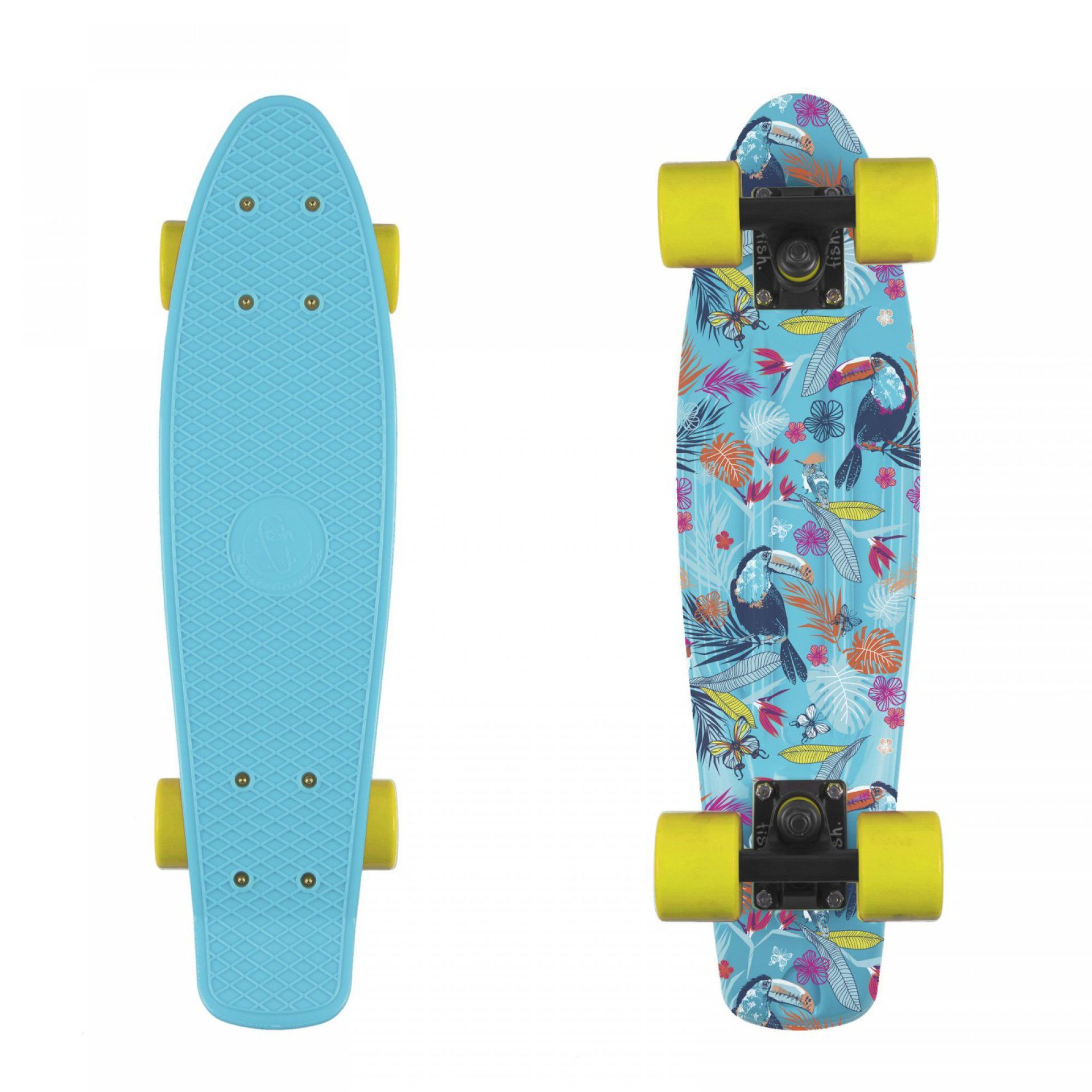 FISHBOARD FISH SKATEBOARDS PRINT TUCANS|BLACK|YELLOW
