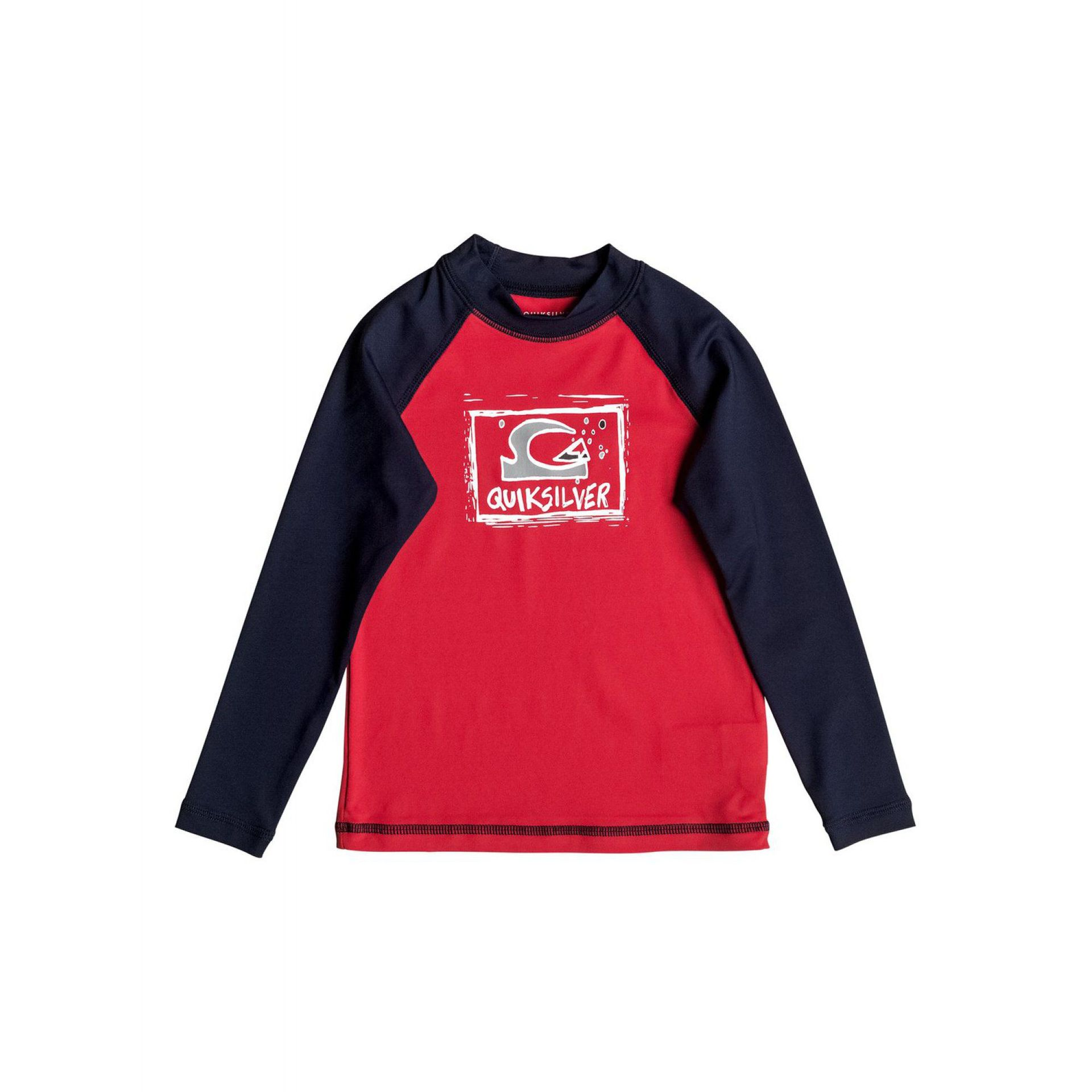 LYCRA QUIKSILVER BUBBLE DREAM LS RASH VEST QUIK RED NAVY BLAZER