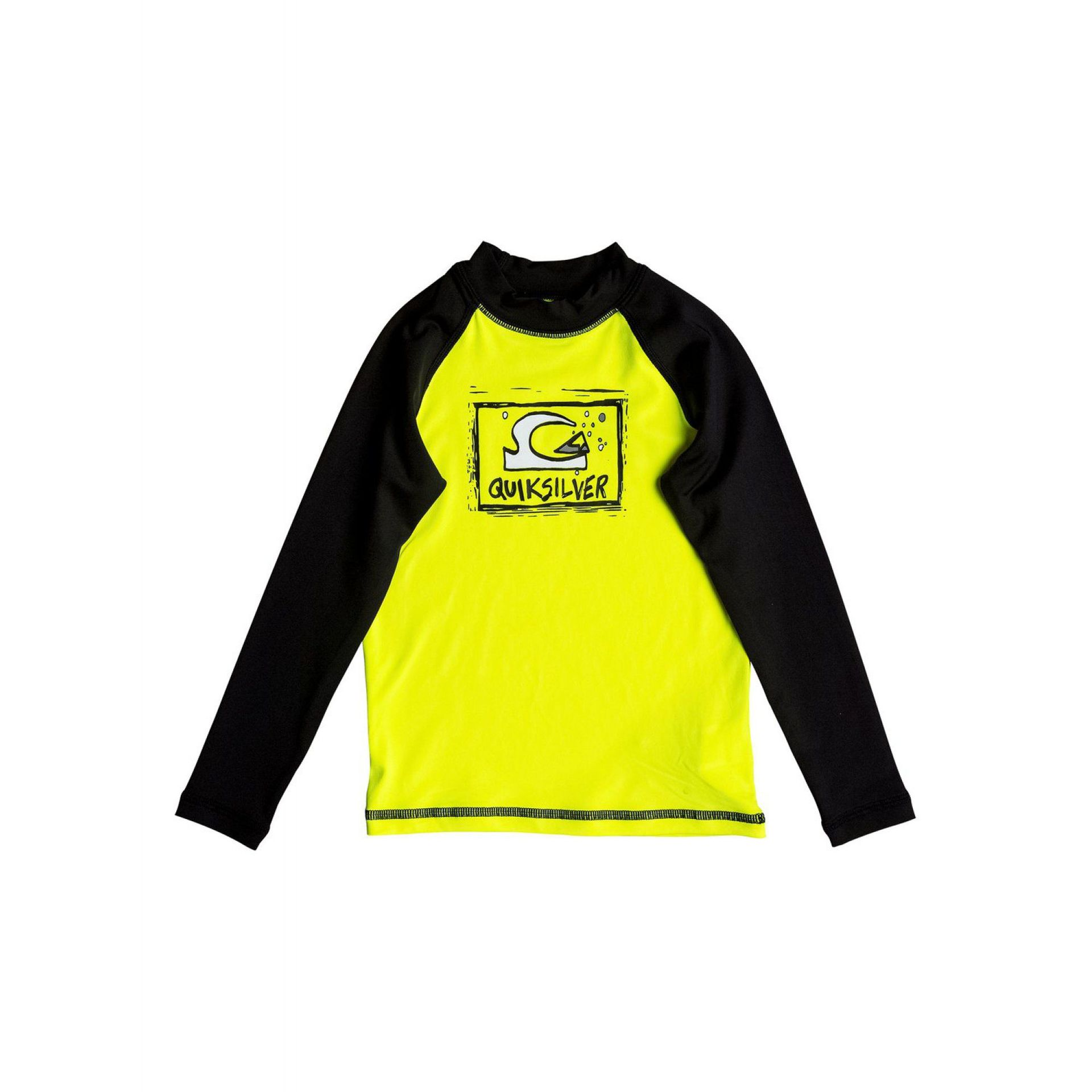 LYCRA QUIKSILVER BUBBLE DREAM LS RASH VEST SAFETY YELLOW BLACK