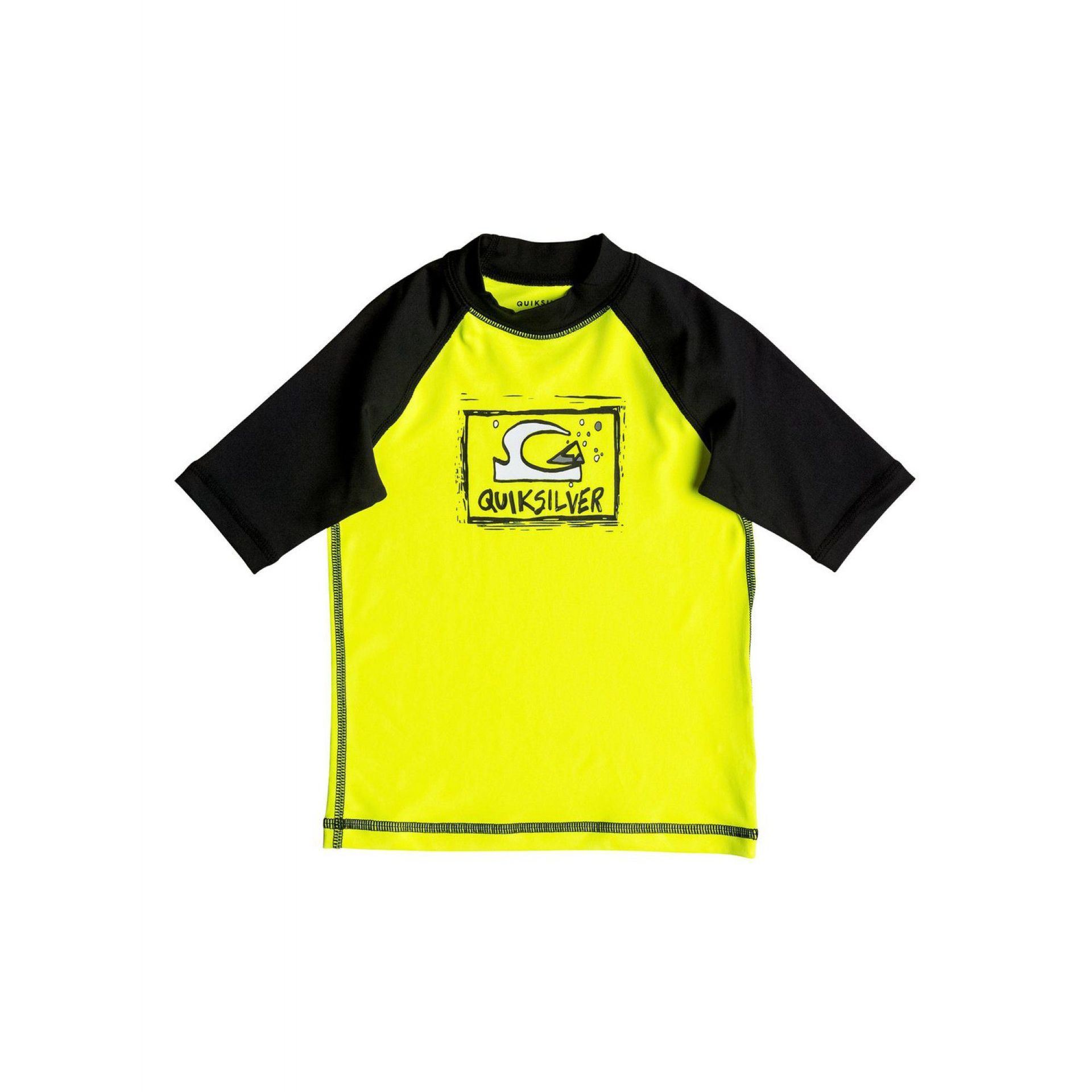 LYCRA QUIKSILVER BUBBLE DREAM SS RASH VEST SAFETY YELLOW BLACK