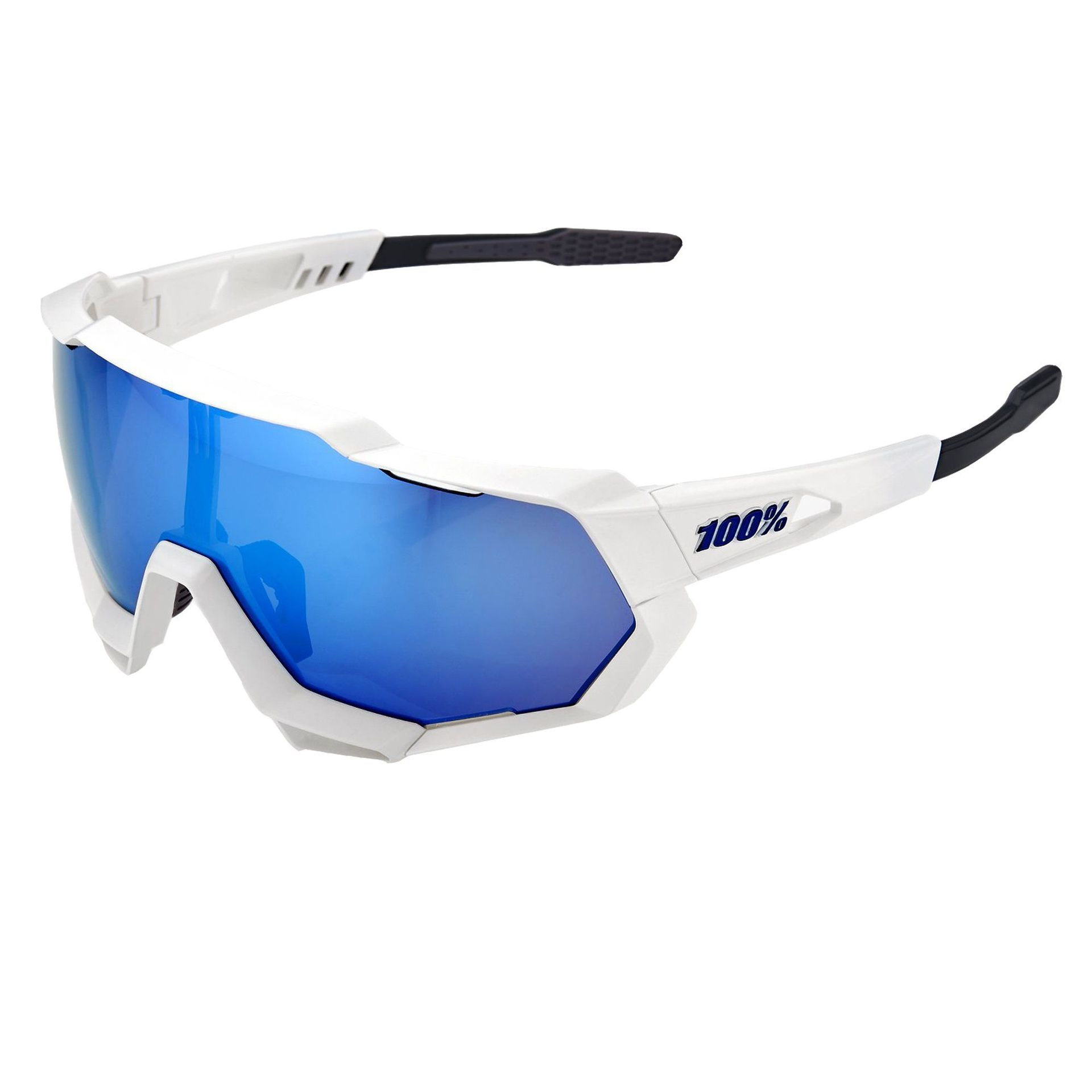 OKULARY 100% SPEEDTRAP MATTE WHITE|HIPER BLUE 1