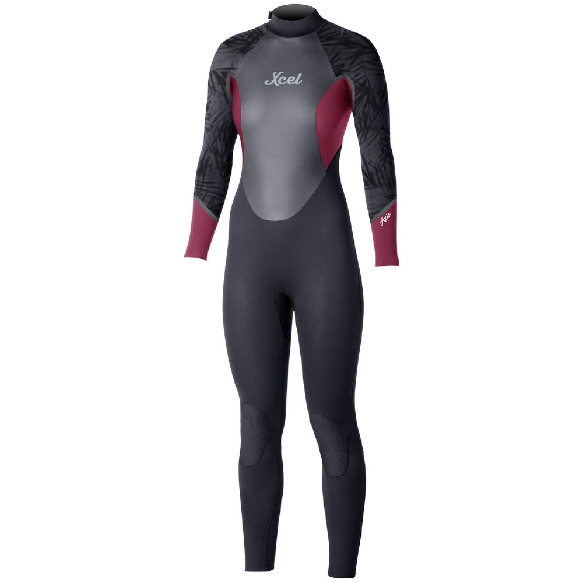 PIANKA NEOPRENOWA XCEL WOMENS AXIS FULLSUIT 4|3 MM BLACK MERLOT PRINT