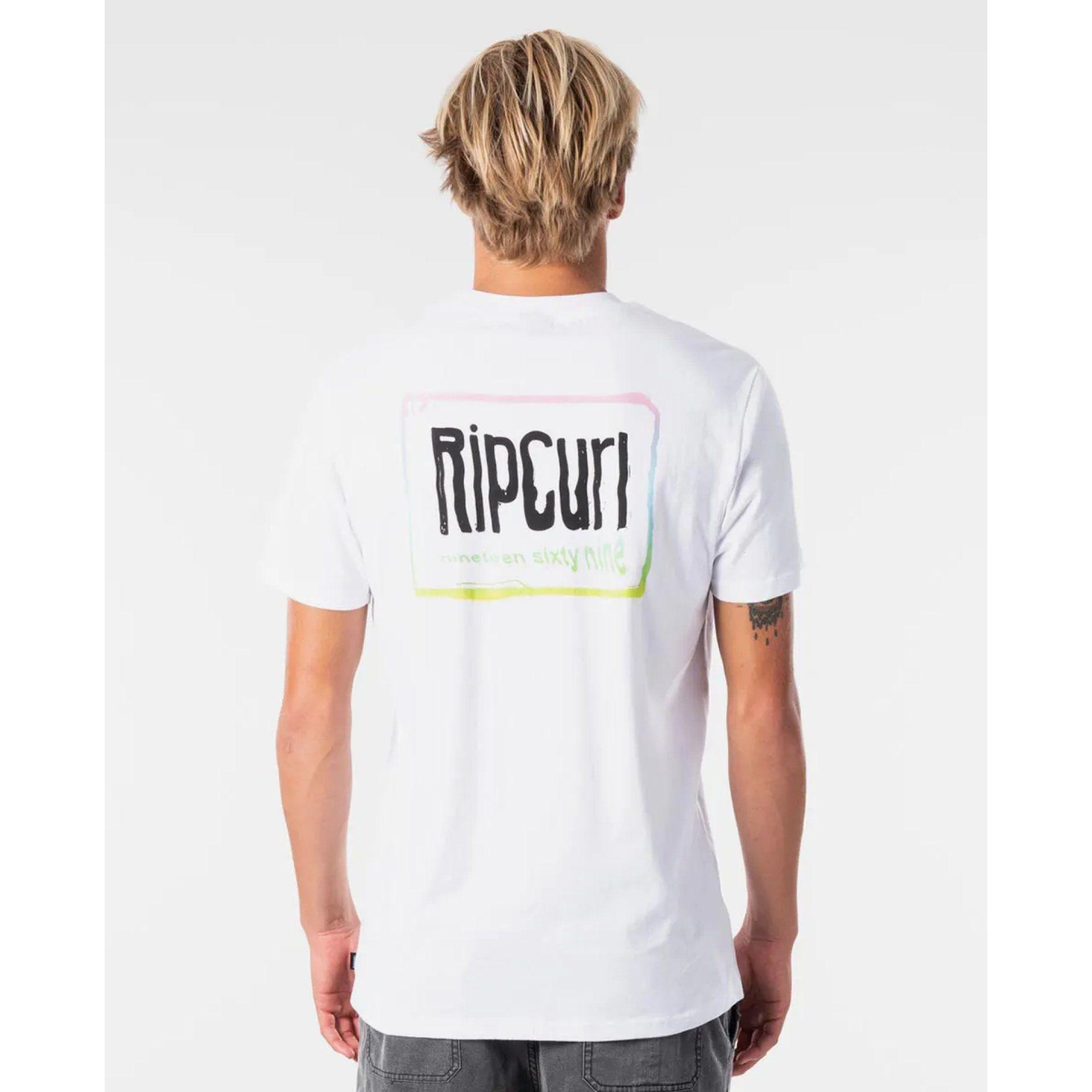 T-SHIRT RIP CURL NATIVE GLITCH CTEKT9 1000 WHITE Z TYŁU