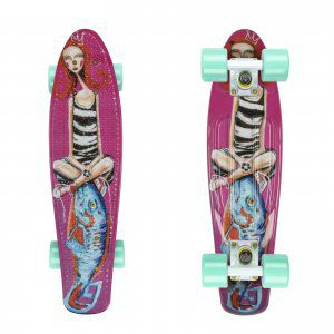 FISHBOARD FISH SKATEBOARDS ART GIRL WIELOKOLOROWY