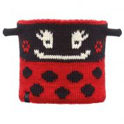 KOMIN BUFF CHILD NECKWARMER KNITTED POLAR LADYBUG|BLACK